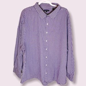 Synrgy Purple Gingham Button Up Big & Tall Shirt